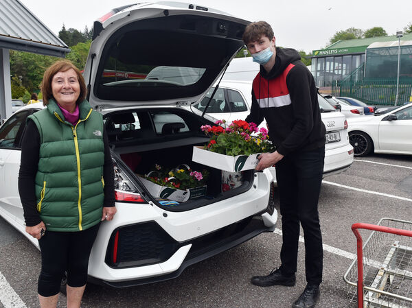 Niall Harnett loading up the boot for Terry Keny, Grange after buying flowers at Hanley's garden centre after the re-opening garden centres during the current Covid-19 pandemic Picture: Eddie O'Hare