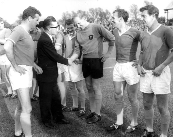 Noel Cantwell introducing Lord Mayor Ald Sean Casey TD to the players prior to Jackie Morley's Testimonial: John Bond, Tony Dunne, Frank McCarthy, Bert Trautman, Pat Crerand and Johnny Haynes.