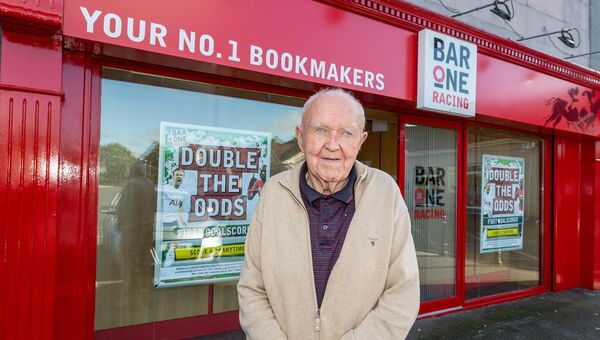 Denis O'Connor outside the Bar One Racing shop in Hazelwood Shopping Centre, Riverstown, Glanmire, Cork. Sadly, Denis passed away recently.