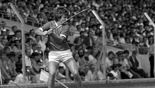 Tom Cashman drives the sliotar down the field for Cork in 1984. He had scored 1-2 against Tipp in '80. Picture: Ray McManus/SPORTSFILE