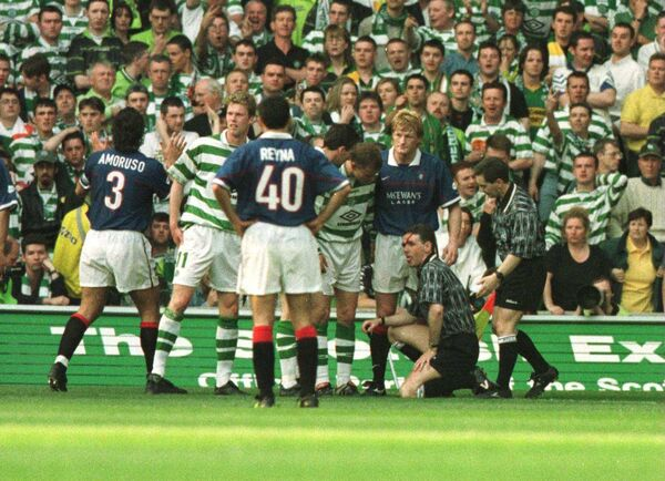 Mayhem in the Old Firm game in May 1999. Picture: Stu Forster/ALLSPORT