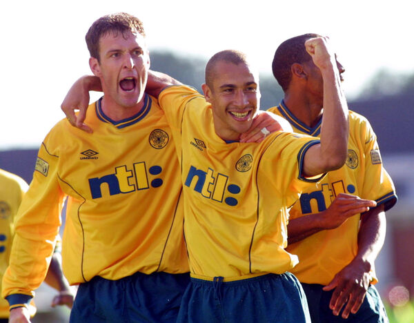 Chris Sutton celebrates with Henrik Larsson in 2001. Picture: PA Photo