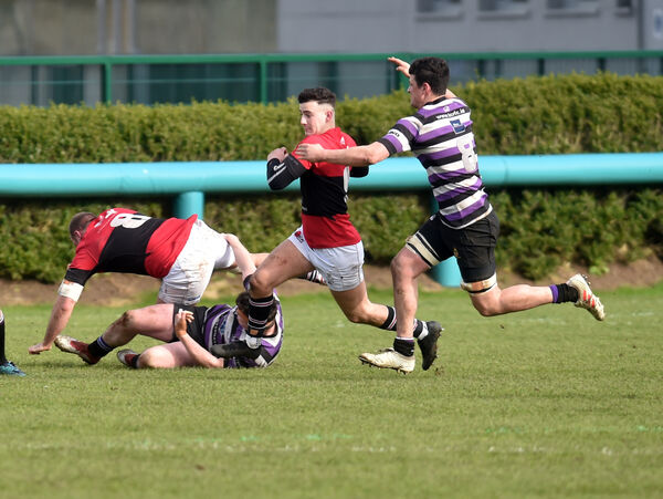 UCC's Louis Kahn is tackled by Terenure College's Eoin Joyce at The Mardyke. Picture: Eddie O'Hare
