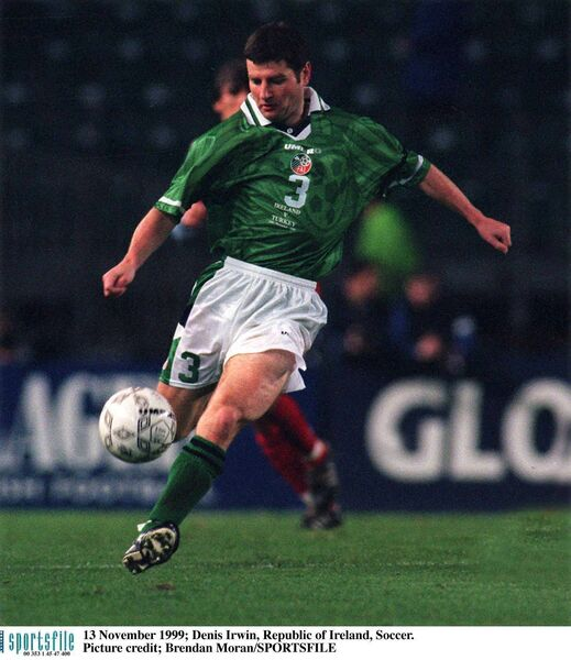 Denis Irwin clears the ball in a Republic of Ireland match in 1999. Picture: Brendan Moran/SPORTSFILE