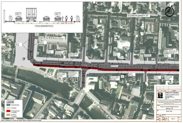 Planning files from Cork City Council show the route for the cycle lanes on South Mall.
