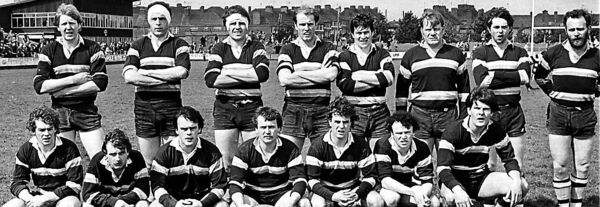 The Dolphin team who played Shannon in the Munster Senior Rugby Cup semi-final replay at Musgrave Park, Cork. Included is Phil O'Callaghan, third from the right, back row.