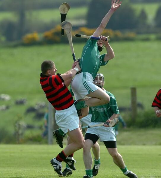 CRACKING: Cloyne's Diarmuid O'Sullivan breaks the hurley of Killeaghs Dick Walsh. Picture: Eddie O'Hare