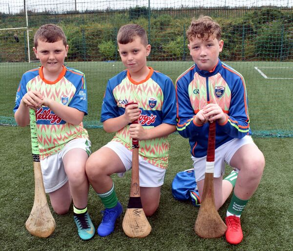 Reece Goldsmith, Dara Furlong and AJ Murphy at the St Vincent's GAA Kellogg's Cúl Camp last year. Picture: Mike English