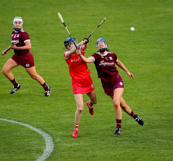 Cork's Pamala Mackey and Nimah Hanniffy of Galway battling it out last season. Picture: INPHO/Ryan Byrne