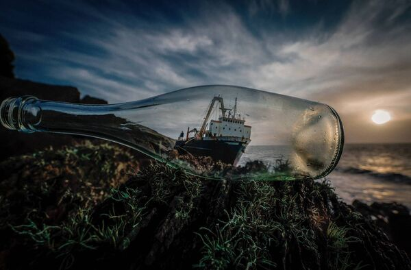 Shipwreck in a bottle : a different view of the MV Alta stranded on the rocks near Ballycotton Cork. Picture Darren Lane.