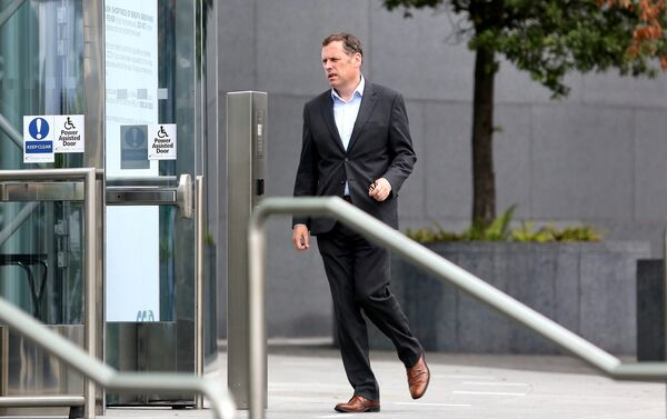 Barry Cowen arriving at the Convention Centre in Dublin today. Photo:Gareth Chaney/Collins