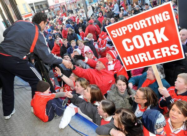 Meets the fans during the protest for the Cork hurling panel of 2008. Picture: Eddie O'Hare