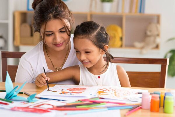 """Whether you're in lockdown, holidays or at any other time, there are many art activities that can be done together at home, which are fun and at the same time hugely beneficial for a child's wellbeing."""