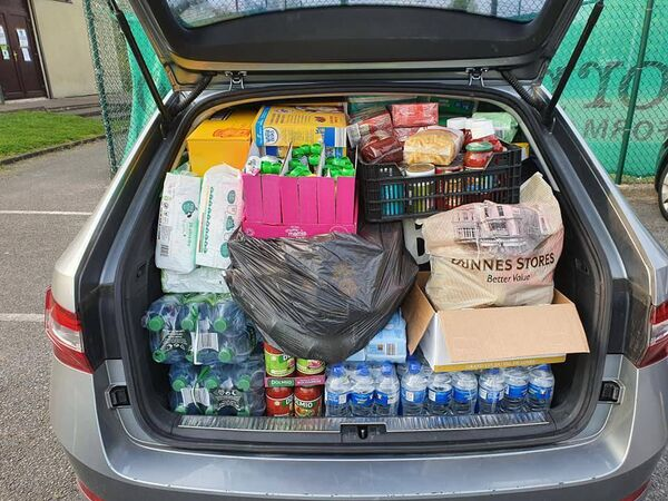 Just one of the car loads from Ballinlough Youth Club's food appeal in aid of Penny Dinners.