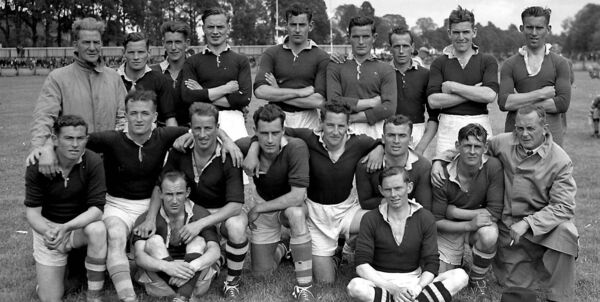 Eamonn Young, third from left, with the Cork team that played Carlow in a challenge football match at the Cork Athletic Grounds in 1945.