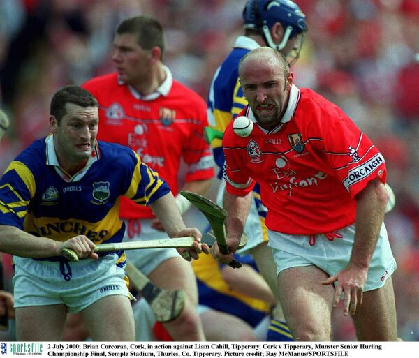 Brian Corcoran, Cork, in action against Liam Cahill, Tipperary, in 2000. Picture: Ray McManus/SPORTSFILE
