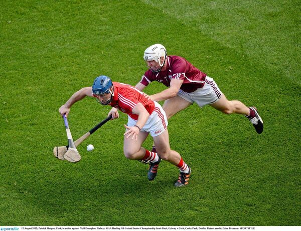 Patrick Horgan, Cork, in action against Niall Donoghue, Galway, in the 2012 All-Ireland hurling semi-final at Croke Park. Picture: Dáire Brennan/SPORTSFILE