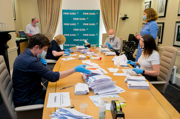 Votes being counted at Fine Gael offices for a Programme for Government on Mount Street, Dublin.Photo:Gareth Chaney/Collins