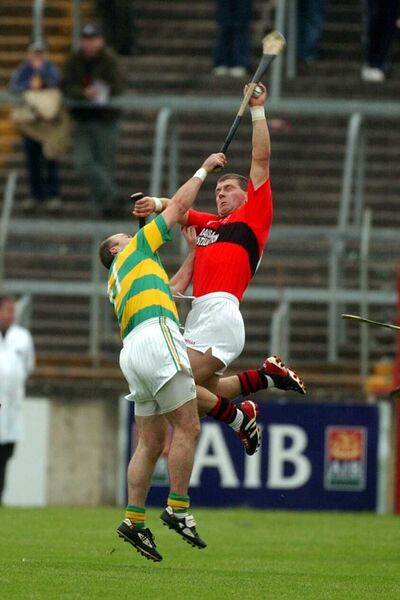 Cloyne's Diarmuid O'Sullivan wins the ball from Blackrock's Liam Meaney in the 2003 clash in the Páirc. Picture: Eddie O'Hare
