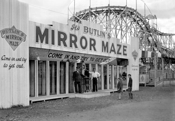 Butlin's Mirror Maze at the Cork International Industrial Exhibition at the Carrigrohane Road in 1932.
