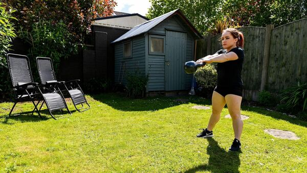 Paralympic athlete Niamh McCarthy during a training session at her home in Carrigaline while adhering to the guidelines of social distancing set down by the HSE. Picture: Sam Barnes/Sportsfile