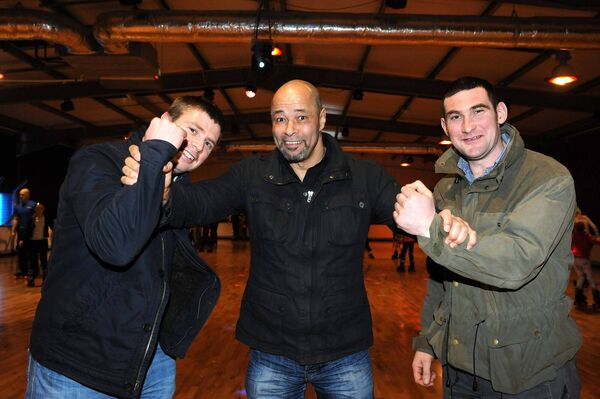 Paul McGrath on a visit to Cork in 2013 with Tomás Ó Sé and Noel O'Leary.