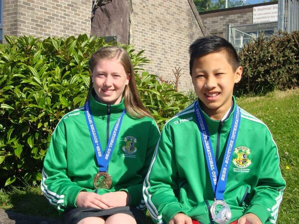Cloghroe National School pupils in 2015 Hieu Power and Rachel Murphy with their medals.