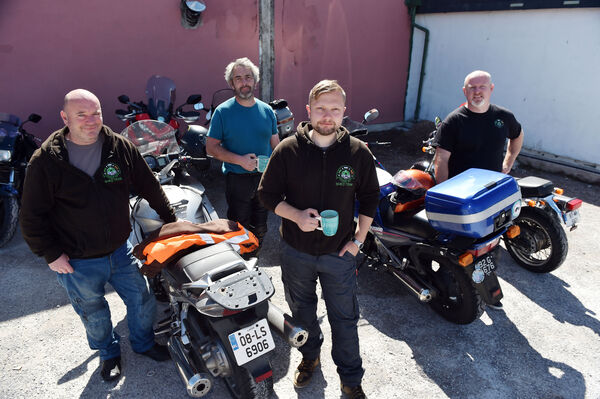 John Travers, Dave Nolan, Gintautas Cepaitis and Tom Lowe from The Bikers Shed based in Mountrath Co. Laois who visited Midleton Bike projectPicture: Eddie O'Hare