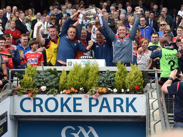 Cork management Ollie O'Sullivan, James McCarthy, Bobbie O'Dwyer, Mick Hannon and Billy O'Connor after defeating Galway last year. Picture: Eddie O'Hare
