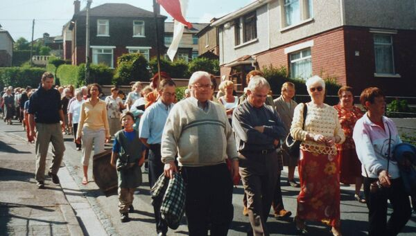 A picture of local people partaking in the North Parish special procession of 'Reflection and Remembrance' for the Jubilee 2000 pilgrimage. Photograph courtesy of Catherine M. Courtney.