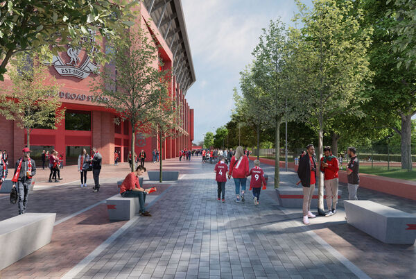 An artists impression of the planned redevelopment of the Anfield Road Stand at Anfield, Liverpool. While delayed by the Covid-19 pandemic it is still an integral part of the ongoing plans to redevelop the iconic stadium. 	 PA Photo