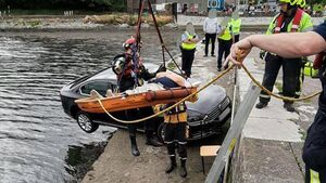 Close call: Fire service called to car hanging off Blackrock pier