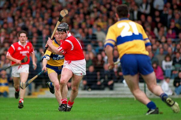 Ger Manley drives home Cork's first goal against Clare at the Gaelic Grounds in 1995. Picture: Brendan Moran/Sportsfile