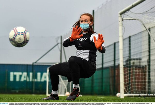 Naoise McAloon during a Peamount United squad training session earlier this week. Picture: David Fitzgerald/Sportsfile