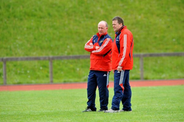Former Munster coach Declan Kidney with scrumage coach Paul McCarthy. Picture: Dan Linehan