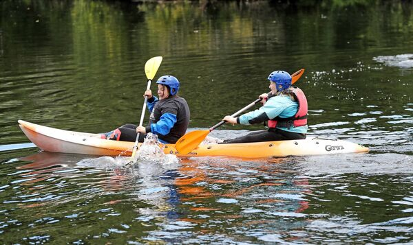 Pictured are Megan Kelleher and Melanie O'Connor, enjoying the river, at the Cork ETB, We Are Cork Challenge, Urban Adventure Programme, kayaking on the River Lee, Carrigrohane Road, Cork. Picture: Jim Coughlan.