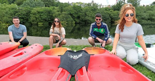 Pictured are, Joe Curtin, Jessie Russell, Bernard O'Callaghan and Megan O'Reilly, all with Youth Ireland Cork, at the Cork ETB, We Are Cork Challenge, Urban Adventure Programme, kayaking on the River Lee, Carrigrohane Road, Cork. Picture: Jim Coughlan.