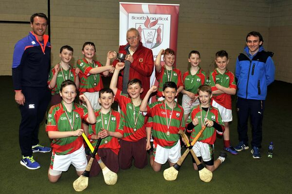 Carrignavar NS team celebrate in 2017 as Micheal Murphy, captain, receives the Hurling Championship Cup from Jerry Walsh at the Allianz Sciath na Scol Indoor finals. Picture: Mike English