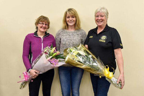 Paula Finn, Joann Baker and Jackie Power who received a presentation in recognition of their ongoing commitment and hard work with the club. Picture: Declan Howard