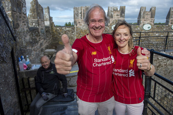 Charles and Caroline Colthurst who both wore Liverpool shirt s and kissed the Blarney Stone to mark the ropening of Blarney Castle to the public. Picture Dan Linehan