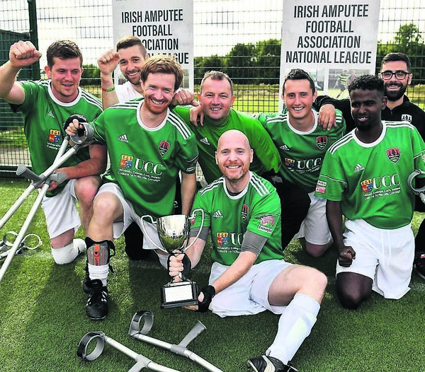 2018: Cork City players celebrate following their side's victory in the Irish Amputee Football Association National League final round match against Bohemians at Ballymun United Soccer Complex in Ballymun, Dublin.	Picture: Seb Daly/Sportsfile