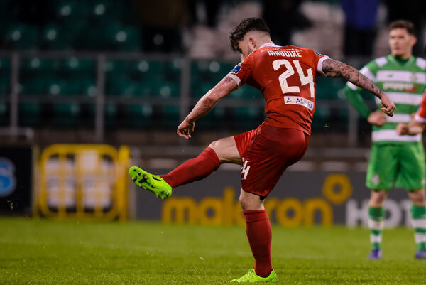 Seán Maguire scores his second goal of the match, this time from the penalty spot, to wrap up Cork City's victory over Shamrock Rovers.	Picture: INPHO/Tom Beary