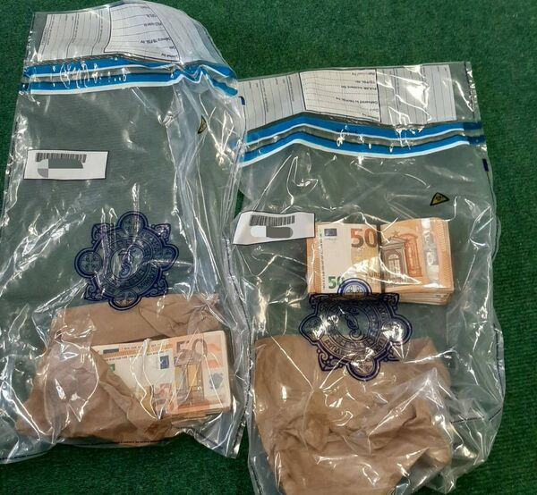 Cash seized by gardaí at a checkpoint in east Cork.