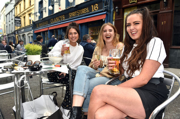 Elaine Browne, Holly Lowry and Niki Harris enjoy a drink and food at Clancy's on Princess street, Cork Picture: Eddie O'Hare