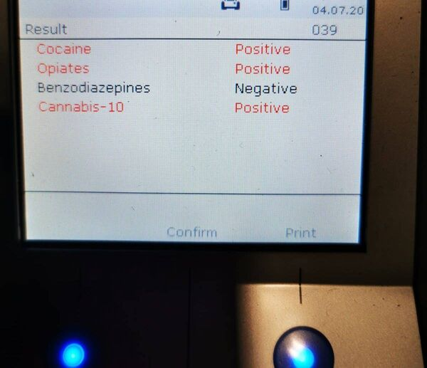 A driver in Cork was given a roadside drug test yesterday, which they failed. Picture: Garda Facebook page.