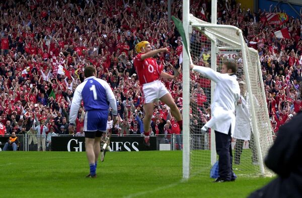 Joe Deane celebrates Cork's goal against Waterford in 2004. Picture: Brian Lougheed