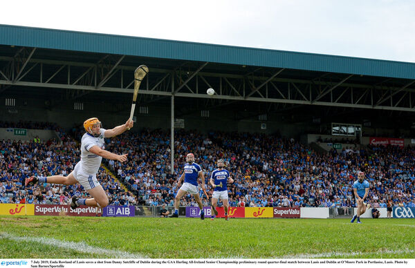 Enda Rowland of Laois saves a shot from Dublin's Danny Sutcliffe. Picture: Sam Barnes/Sportsfile