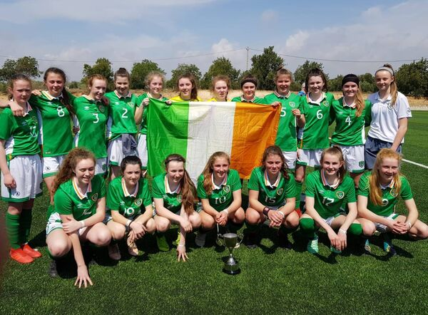 The Republic of Ireland U15 squad that claimed last year's John Read International Cup trophy.