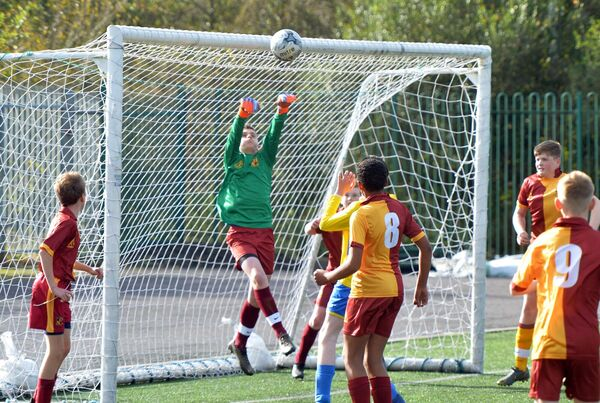Tramore Athletic goalkeeper Jack O'Leary clears the ball off his line against Carrigaline United A in the Cork Schoolboys League Skechers U14 Division 4 game at Ballea Park. Picture: Denis Minihane.