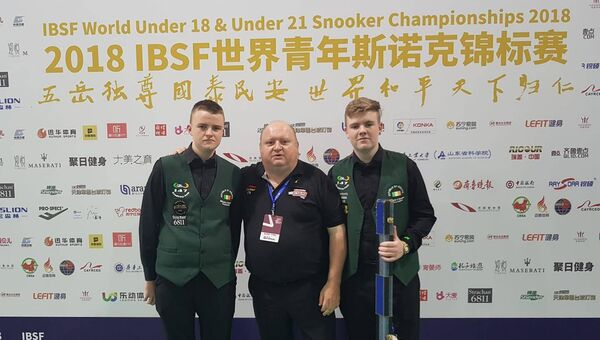 Cork snooker: Ross Bulman and Aaron Hill, here with their national coach PJ Nolan, will be hoping to get the wins under their belts in Sheffield.